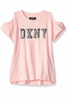 DKNY Girls' Little Pleated Sleeve Top