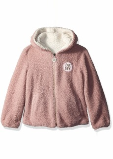 DKNY Girls' Little Reversible Snow Jacket with Faux Fur