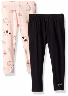 DKNY Girls' Toddler 2 Pack Playful Legging Set