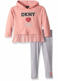 DKNY Girls' Toddler 2 Piece Hooded Heart Top with Legging Set