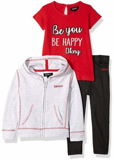 DKNY Girls' Toddler 3 Piece Be You Be Happy T-Shirt Hoodie and Pant Set