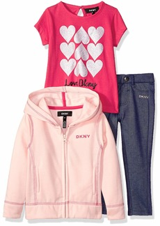DKNY Girls' Toddler 3 Piece Love T-Shirt Hoodie and Pant Set