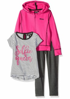 DKNY Girls' Toddler 3 Piece Selfie Queen T-Shirt Hoodie and Pant Set