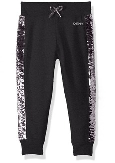 DKNY Girls' Toddler Casual Pant flip Sequin Charcoal Heather