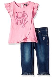 DKNY Girls' Toddler Fashion Top and Pant Set Rope Capri Medium wash