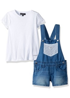 DKNY Girls' Toddler Fashion Top and Short Set Overall Crochet Light wash