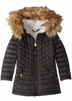 DKNY Girls' Toddler Faux Fur Lined Jacket with Glacier Shield