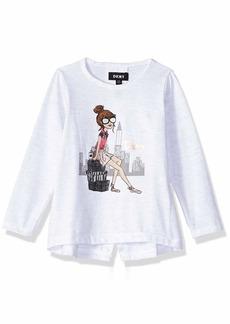 DKNY Girls' Toddler Long Sleeve Back Slit Top