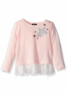 DKNY Girls' Toddler Long Sleeve Lace Insert Top