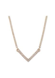 "Dkny Gold-Tone Crystal Chevron Statement Necklace, 16"" + 3"" extender"