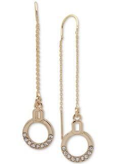 Dkny Gold-Tone Crystal Circle Threader Earrings
