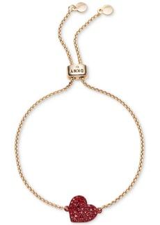 Dkny Gold-Tone Crystal Heart Slider Bracelet