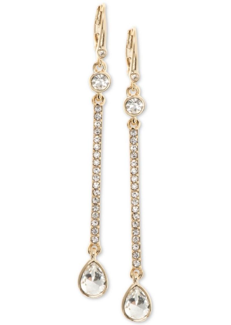 Dkny Gold-Tone Crystal Linear Drop Earrings, Created for Macy's