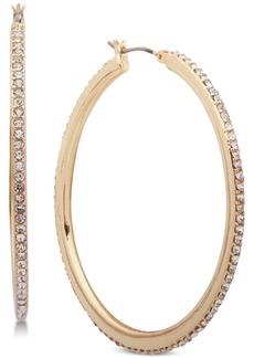 Dkny Gold-Tone Crystal Pave Medium Medium Hoop Earrings