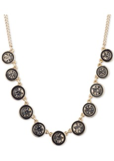 "Dkny Gold-Tone Crystal Statement Necklace, 16"" + 3"" extender"