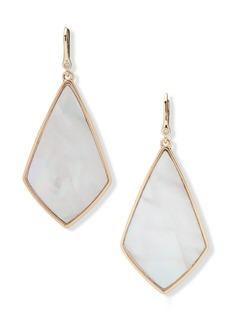 Dkny Gold-Tone Geometric Stone Drop Earrings