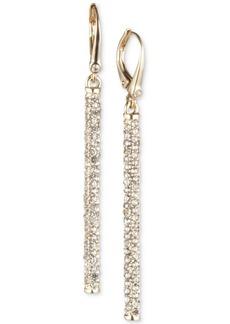 Dkny Gold-Tone Micropave Linear Drop Earrings