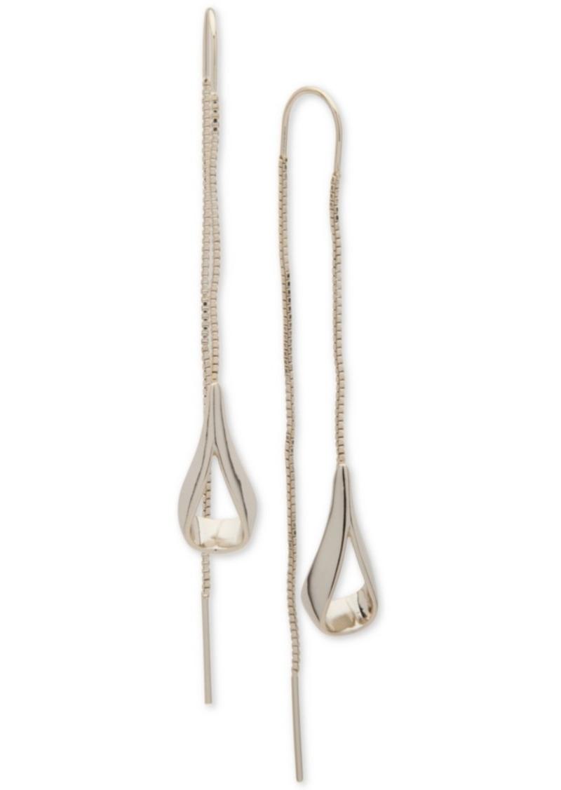Dkny Gold-Tone Open Teardrop Threader Earrings, Created for Macy's