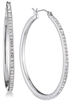 """Dkny Gold-Tone Pave 1"""" Skinny Hoop Earrings, Created for Macy's"""