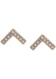 Dkny Gold-Tone Pave Chevron Stud Earrings