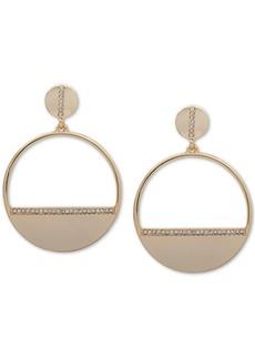 Dkny Gold-Tone Pave Hoop Drop Earrings