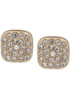 Dkny Gold-Tone Square Pave Stud Earrings
