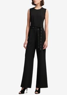Dkny Grommet-Belt Wide-Leg Jumpsuit, Created for Macy's