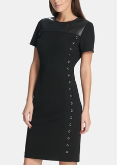 Dkny Grommet T-Shirt Dress with Faux-Leather Trim, Created for Macy's
