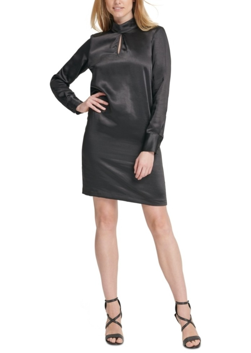 Dkny Hammered Satin Mock-Neck Dress