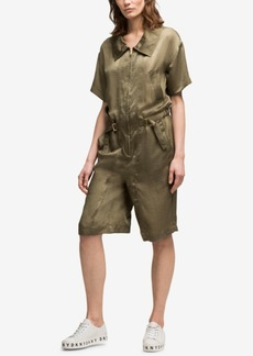 Dkny Hammered Satin Short Jumpsuit, Created for Macy's