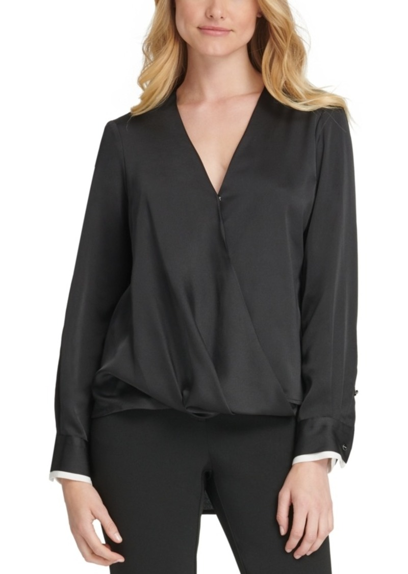 Dkny Hammered Satin Twist-Front Blouse