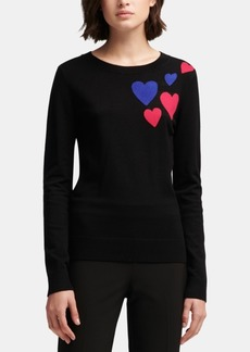 Dkny Heart-Print Crewneck Sweater, Created for Macy's