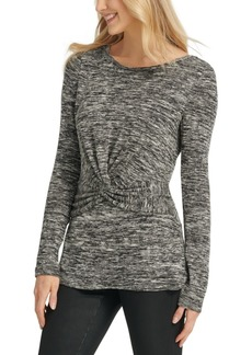 Dkny Heathered Twist-Front Top