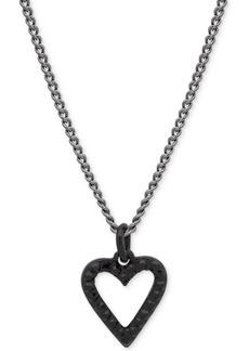 """Dkny Hematite-Tone Crystal Open Heart Pendant Necklace, 16"""" + 3"""" extender"""
