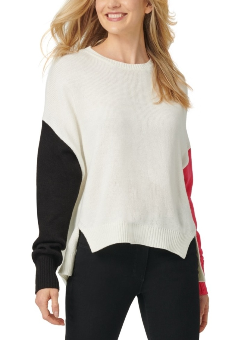 Dkny High-Low Colorblocked Sweater