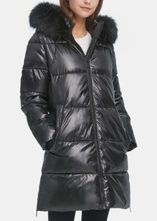 Dkny High-Shine Faux-Fur-Trim Hooded Puffer Coat