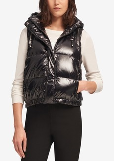 Dkny Hooded Metallic Puffer Vest, Created for Macy's