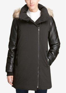Dkny Hooded Mixed-Media Puffer Coat, Created for Macy's