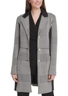 Dkny Houndstooth Three-Button Jacket