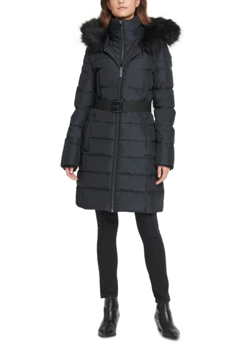 Dkny Iridescent Hooded Faux-Fur-Trim Puffer Coat