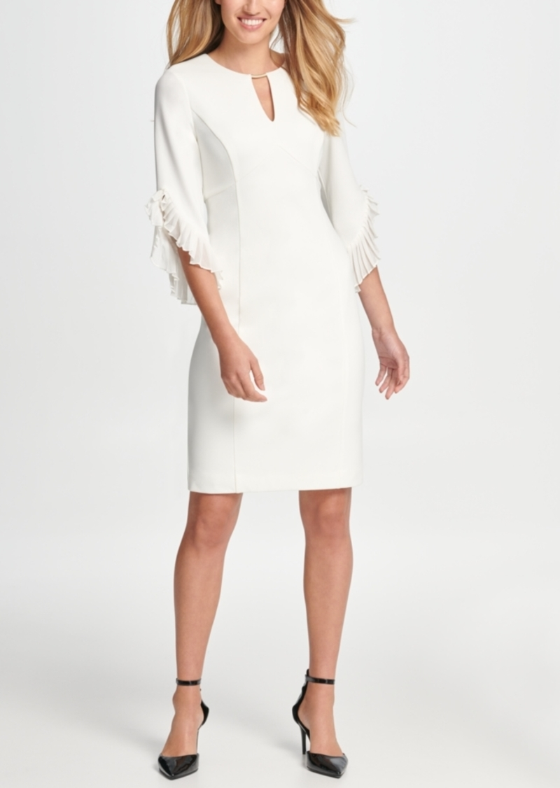 Dkny Keyhole Neck Chiffon Tulip Sleeve Sheath Dress