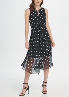 Dkny Keyhole Polka-Dot Printed Chiffon Midi Dress