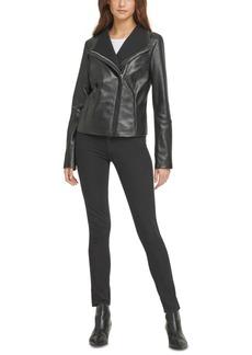 Dkny Knit-Collar Leather Moto Jacket