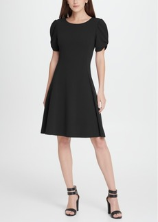 Dkny Knot Puff Sleeve Fit Flare Dress