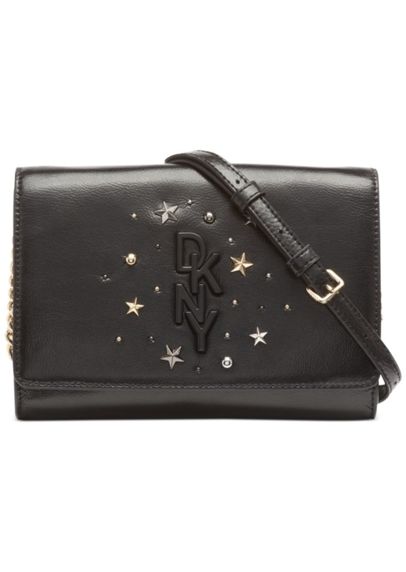 Dkny Krescent Leather Stud Clutch Crossbody, Created for Macy's