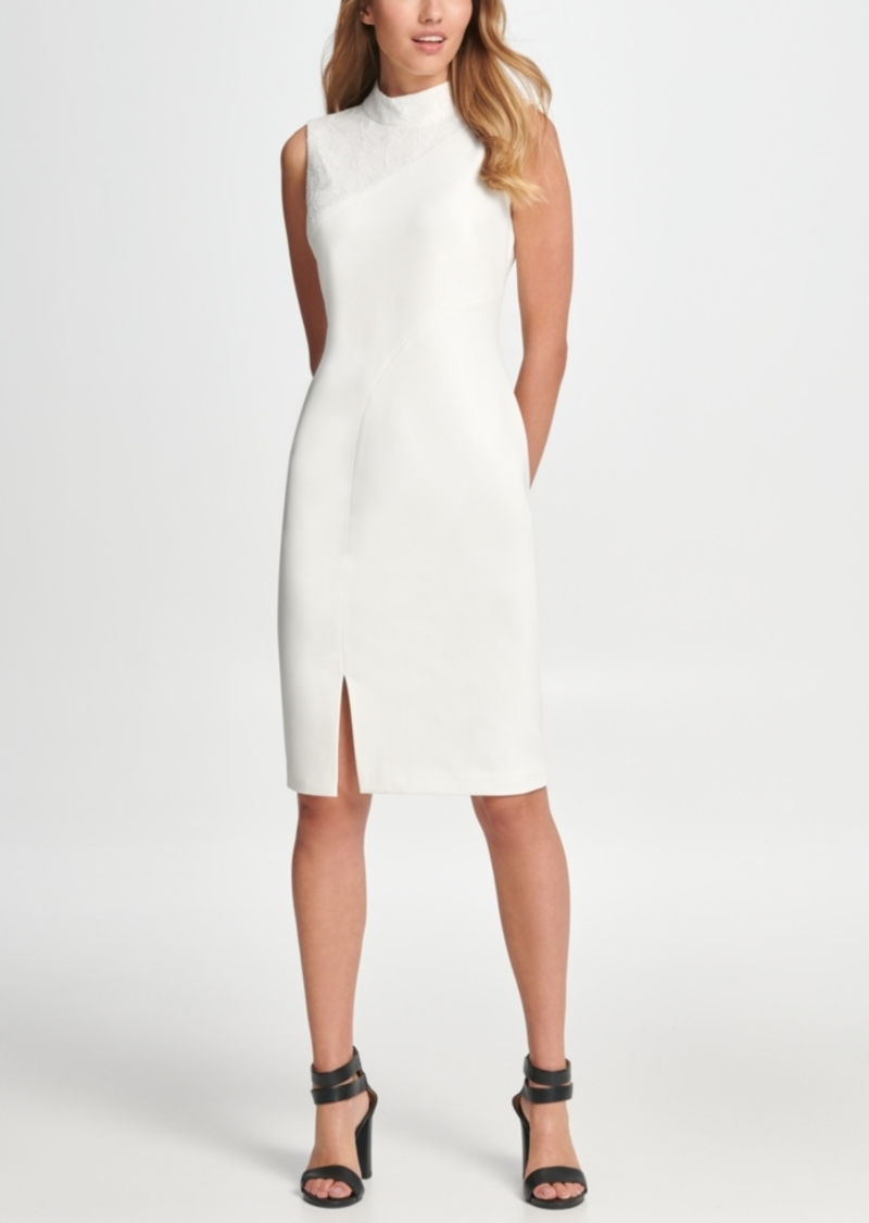 Dkny Lace Combo Mock Neck Sheath Dress