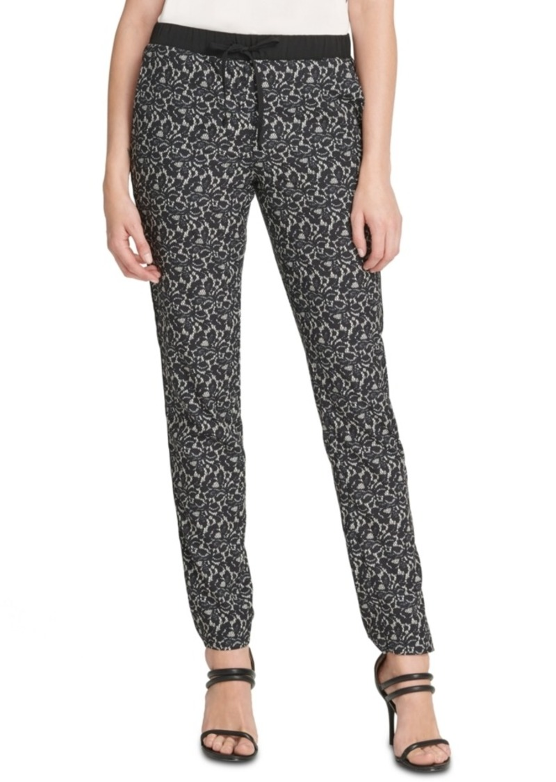 Dkny Lace-Printed Drawstring Pants
