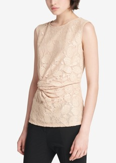 Dkny Lace Side-Knot Blouse, Created for Macy's