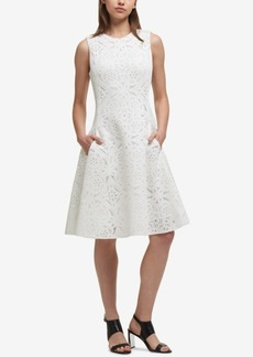 Dkny Laser Cut Fit & Flare Dress, Created for Macy's