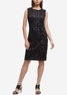 Dkny Lasercut & Mesh Sheath Dress, Created for Macy's